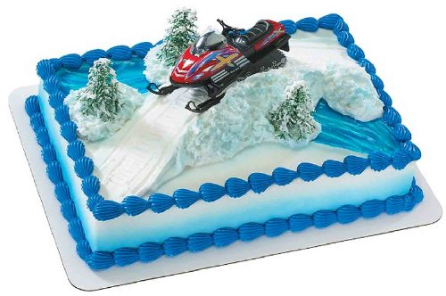 Price comparison product image Red Snowmobile DecoSet Cake Decoration
