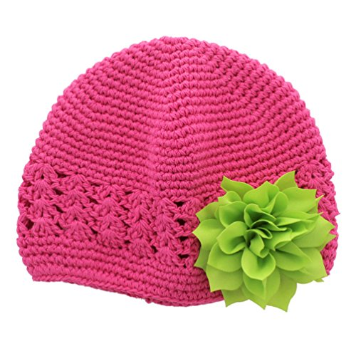 My Lello Infant Baby Girl's Crochet Beanie Hat with Flower Hot Pink/Apple Green