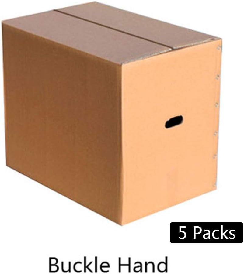 Dray Cajas de mudanzas Medianas (50-80 cm) (Paquete de 5) para empacar, almacenar artículos, envío, mudanza y Almacenamiento (Size : B5 Packs (with Buckles) 60x40x50cm)
