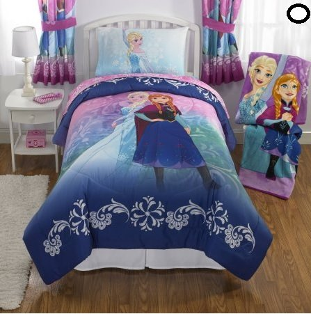 NEW! Disney Frozen Full Size Nordic Frost Bedding Set Made of 100% Polyester with Reversible Comforter, Flat Sheet, Fitted Sheet and Pillowcase by Franco