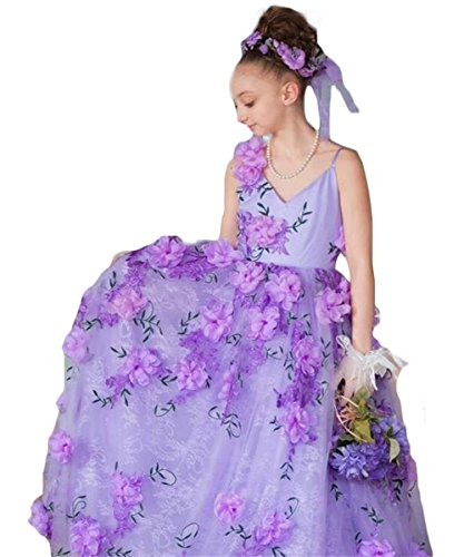 Newdeve Girls Princess Gown 3D Flower Baby Toddler Flower Girls Dress (11, Lavender) by New Deve