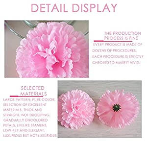 Allywit Artificial Flowers Bouquets Fake Silk Carnation Flowers for Home Wedding Party Mother's Day Decorative Gift 5