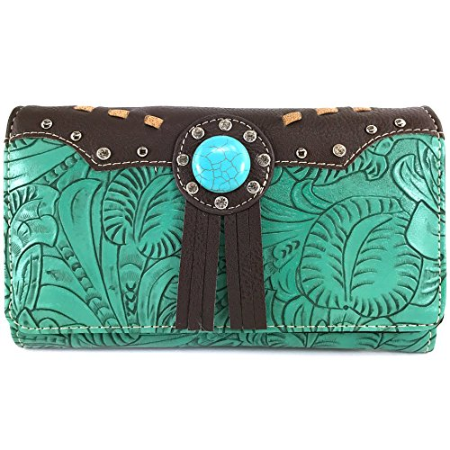 Justin West Tooled Western Leather Turquoise Stone Fringe Studded Shoulder Concealed Carry Handbag Purse (Teal wallet)