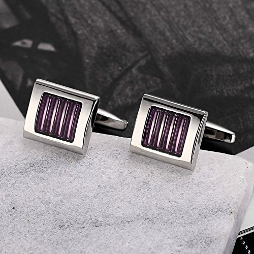AmDxD Jewelry Stainless Steel Cufflinks for Men Square Stripe Purple Cuff Links 1.5X1.3CM