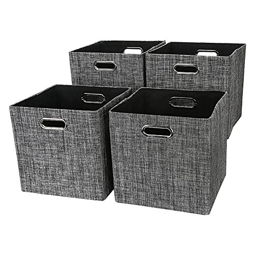 Storage Cube Basket Bin,Foldable Closet Organizer Shelf Cabinet Bookcase Boxes,Thick Fabric Drawer Container (4, Black) Storage Baskets For Shelves