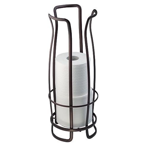 interdesign axis toilettenpapierhalter freistehender wc rollenhalter fr reserverollen rostfreier klorollenhalter fr 3 ersatzrollen - Freistehender Toilettenpapierhalter Chrom