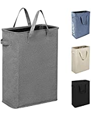 "Chrislley 22"" Slim Laundry Hamper with Handles Small Collapsible Laundry Basket Tall Thin Laundry Hamper Narrow Clothes Hampers for Laundry"