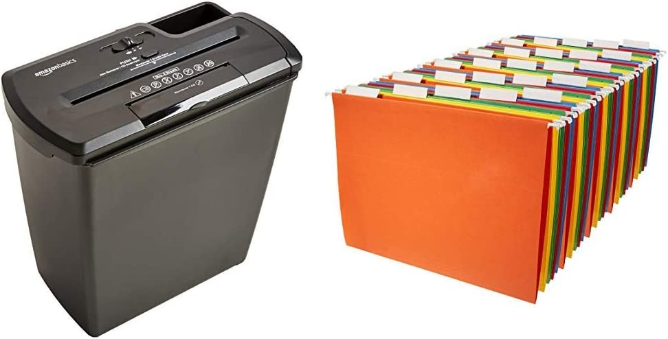 AmazonBasics 8-Sheet Strip-Cut Paper, CD and Credit Card Home Office Shredder & Hanging Organizer File Folders - Letter Size, Assorted Colors, 25-Pack