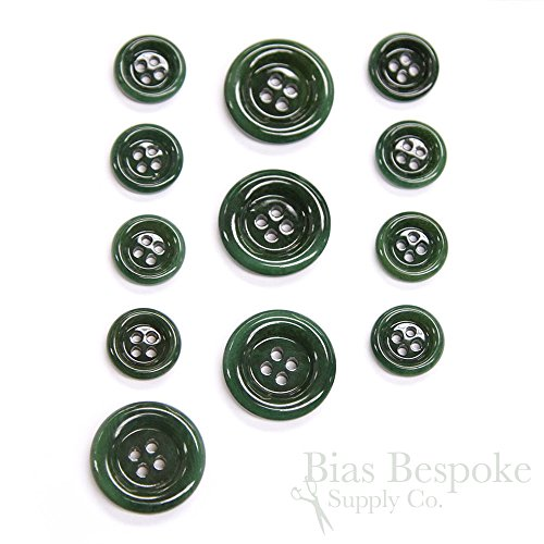 Sets of 12 Mod Dark Green Lacquered Corozo Suit and Overcoat Buttons, Made in Italy