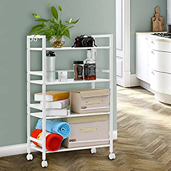 LANGRIA 4 Tier Kitchen Cart Utility Cart For Serving Organization Storage  Cart Rolling Cart Shelving