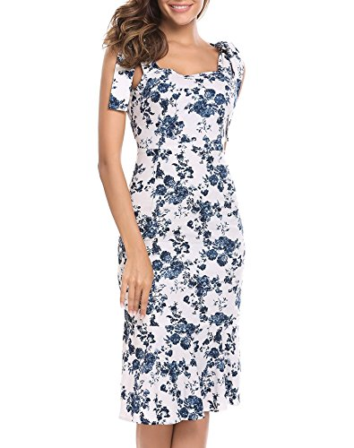 Zeagoo Women's Floral Print Sleeveless Hem Ruffle Trimmed Midi Dress