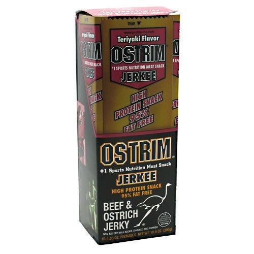 Ostrich Jerky Pepper - Ostrim High Protein Beef & Ostrich Teriyaki Jerkee - 10 (1.05oz ea.) Meat Snacks