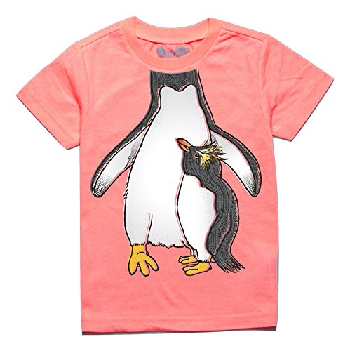 Penguin Zoo - Peek-A-Zoo Toddler Become an Animal Short Sleeve T Shirt - Rockhopper Penguin Neon Coral (4T)