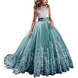 WDE Princess Teal Long Girls Pageant Dresses Kids Prom Puffy Tulle Ball Gown US 4