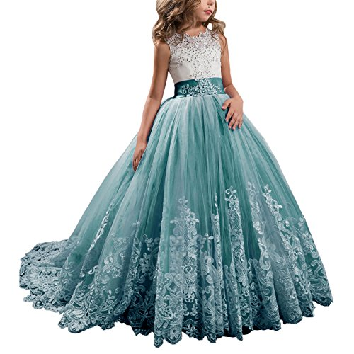WDE Princess Teal Long Girls Pageant Dresses Kids Prom Puffy Tulle Ball Gown US 12