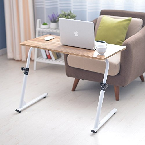 Soges 31.5 inches Adjustable Laptop Desk Portable Laptop Table Computer Stand Notebook Desk Side Table for Bed and Sofa, Oak ZS-S1-2OK