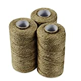 QuWei 3 PC Natural Jute Twine Best Arts Crafts Gift Twine Christmas Twine Industrial Packing Materials Durable String for Gardening Applications
