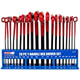Grip Tools 92158 20 Piece T-handle Hex Key Set with Storage Rack