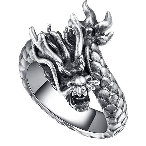 Moluss Stainless Steel Silver Black Men//Women Punk Biker Dragon Gothic Ring