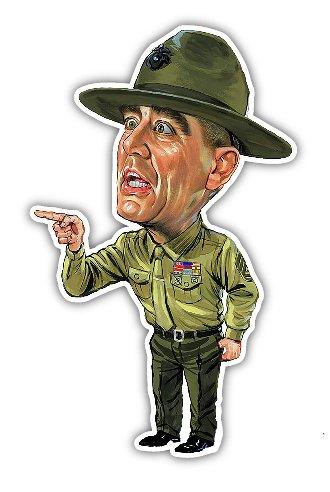 NG R Lee Ermey Decal Vinyl Sticker Funny Cartoon Caricature USMC Military FMJ