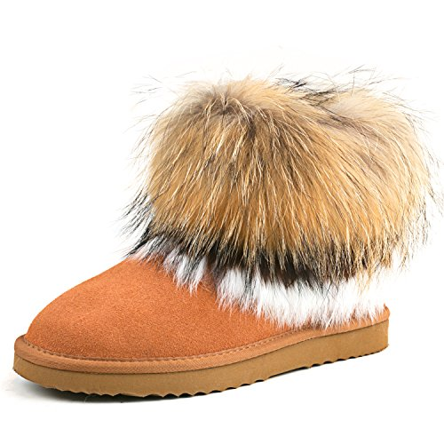 AUSLAND Women's Warm Short Fur Trimmed Boot 99258 Chestnut 8