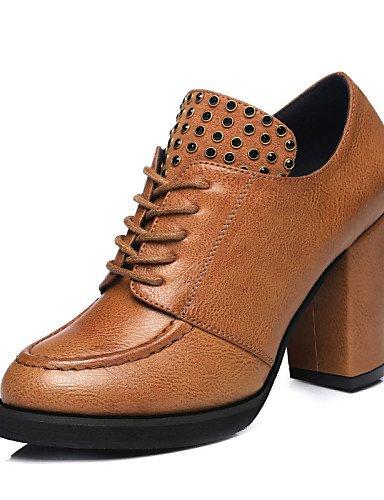 us6 Tacón Sintético Comfort Exterior Cn39 Brown Uk4 5 Uk6 5 7 Black Negro Njx De Tacones Eu37 Eu39 us8 5 Cn37 Robusto Zapatos Mujer Marrón Casual xwYWzqAUt0