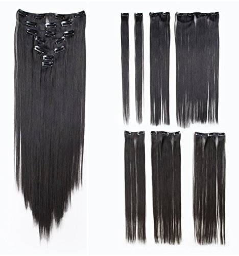 SWACC Women 22 Inches Straight Full Head 7 Separate Pieces Heat Resistance Synthetic Hair Clip in Hair Extensions (Natural Color Close to (Black Long Wig With Two Braids)