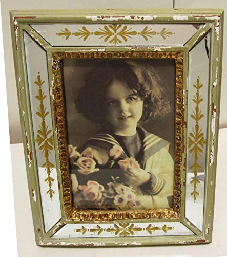 4x6 Gold Venetian Etched Mirrored Photo Frame Shabby French Chic Mirror Frame ()