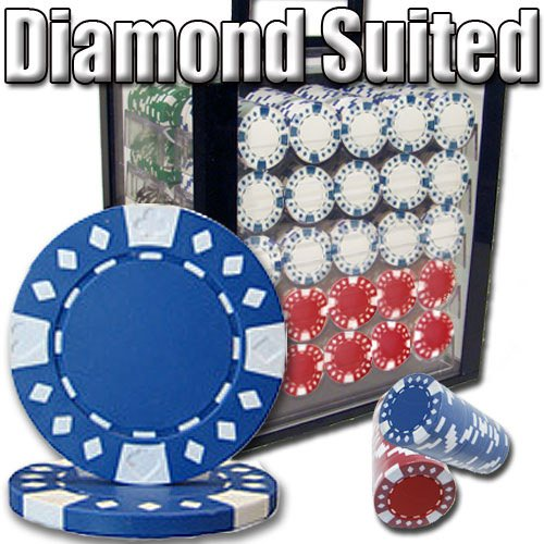 Clay Poker Composite Chips Diamond (Brybelly 1,000 Ct Diamond Suited Poker Set - 12.5g Clay Composite Chips with Acrylic Display Case for Casino Games)