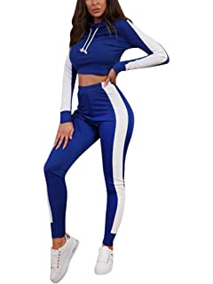 5c126028c5 Minetom Mujeres Dos Piezas Chándal Conjunto de Ropa Deportivos  Entrenamiento Fitness Yoga Sudadera con Capucha Crop