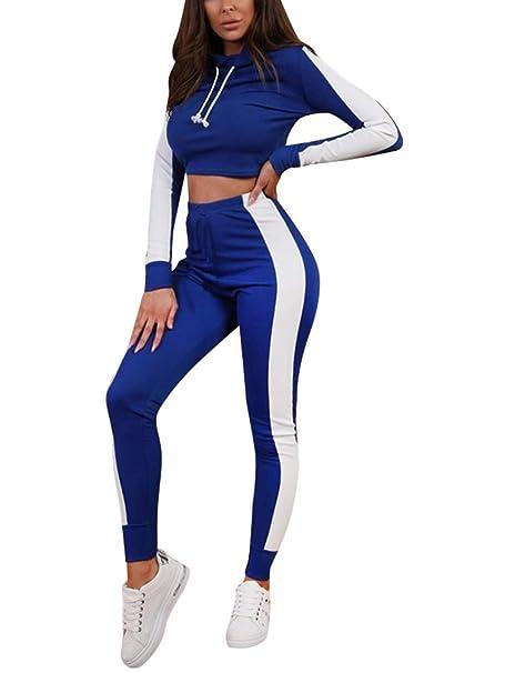 34ae5bf0aab27 Minetom Mujeres Dos Piezas Chándal Conjunto de Ropa Deportivos  Entrenamiento Fitness Yoga Sudadera con Capucha Crop
