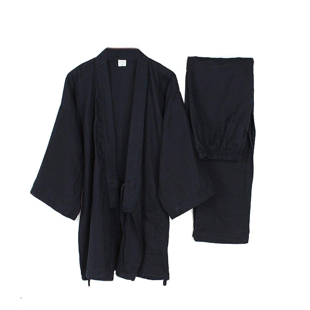 FANCY PUMPKIN Men's Japanese Style Robes Loose Pure Cotton Kimono Pajamas Suit-Black CLO-FIONA1045704-272