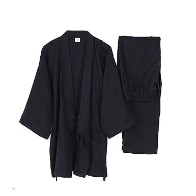 FANCY PUMPKIN Mens Japanese Style Robes Loose Pure Cotton Kimono Pajamas Suit-Black