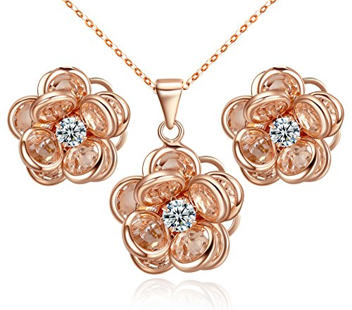 Necklace Hook Earring (Yoursfs Crystal Flower Jewelry Sets for Women Gold Plated Pendant Necklace & Hook Earrings Cocktail Set)