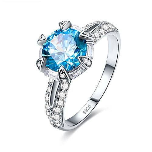 Jrose Sterling Silver Round Cut Created Rinbow/Blue Topaz Promise Engagement Ring
