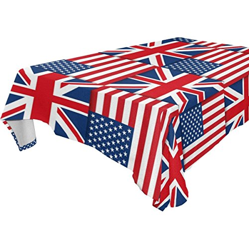 Rectangular American Flag Union Jack British Tablecloth Table Cloth Cover for Home Decor Dinner Kitchen Party Picnic Wedding Halloween Christmas 54 x 72 -