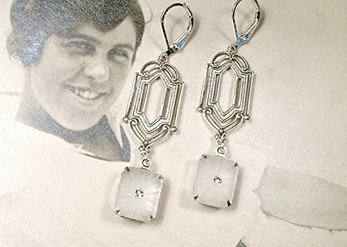 Art Deco Camphor Glass Dangle Earrings, Antique Silver Long Bridal Drop Earrings, 1920s Wedding Jewelry Great Gatsby Flapper Vintage Inspired Bridesmaid Statement ()