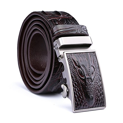 Mens 38mm Embossed Genuine Leather Reversible Ratchet Belt Brown (Brown Embossed Leather Belt)