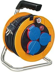 Brennenstuhl Brobusta - Carrete alargador de cable compacto para uso industrial (cable con recubrimiento especial, 10m)