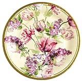 Home Garden Best Deals - Ideal Home Range 8 Count Round Paper Plates, 8-Inch, Elizabethan Garden Cream