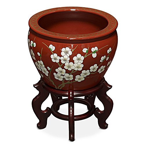 ChinaFurnitureOnline Porcelain Fishbowl, 12 inches Hand Painted Cherry Blossom Motif Planter Red ()
