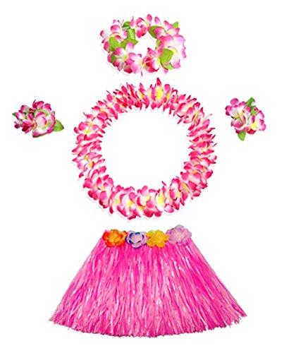 [Grass Skirt Costume Set Hawaiian Ruffled Simulated Colorful Kids Dress] (Hawaiian Hula Outfits)