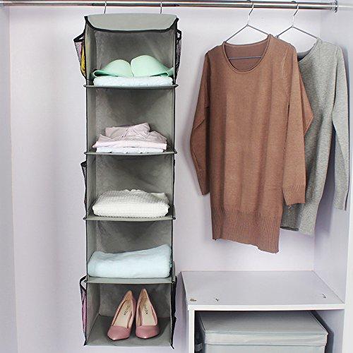 Organizador de ropa para armario - Estanteria colgante en tela para guardar y organizar articulos de bebe - Cajas para guardar ropa, toallas, ...