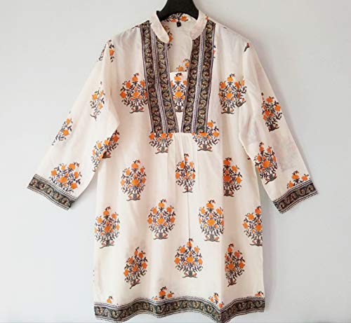 Tangerine & Gray Mughal style Floral Hand block print Indian cotton Blouse Top (Blouse Tangerine Floral)