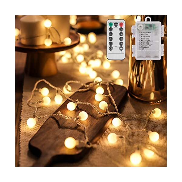 Catena Luminosa Batteria 10M 100LED 8 mode con Telecomando Luci da Esterno a Batteria Catena Luminosa a LED Catena di Luci a LED Catena di Lampadina Bianco Caldo 1 spesavip