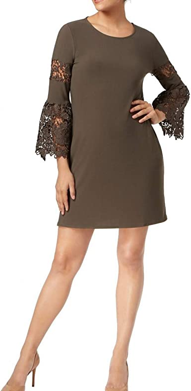Alfani Women/'s Plus Size Lace Bell-Sleeve Sheath Dress