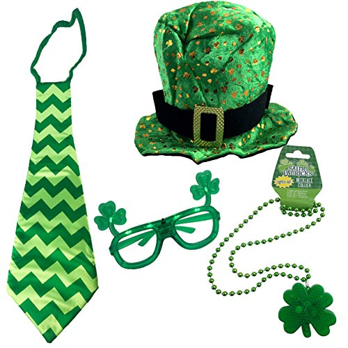 St Patricks Day Costume Set - Top Hat, Jumbo Tie, Light Up Necklace and Glasses