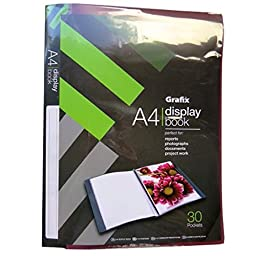 A4+ Plastic Clear Display Book - 30 Bound in Clear Pockets - Reports, Photographs, Documents, Project Work - Finished Size 12.2 X 9.3