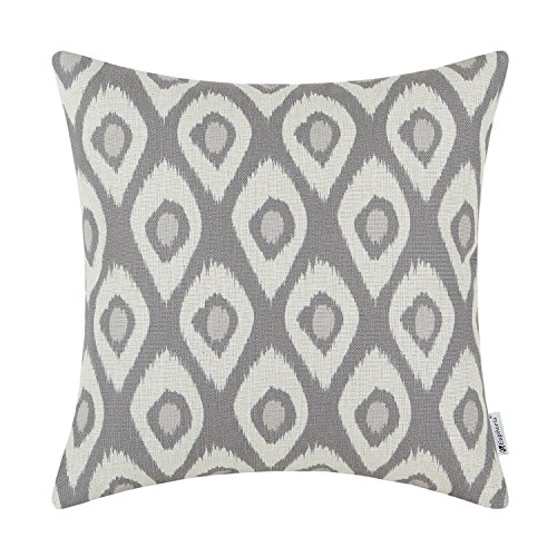 CaliTime Cushion Cover Throw Pillow Case Shell Ikat Peacock