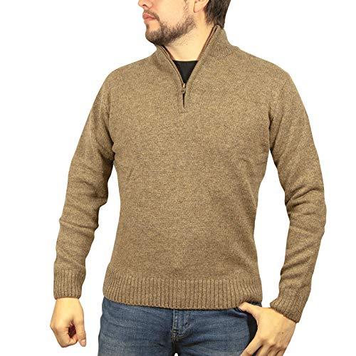Boutique Retailer Men's Shetland Wool 1/4 Zip up Cardigan Sweater Knitted Jumper Pullover (Large, Nutmeg)